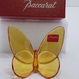 Baccarat Topaz Amber Yellow Lucky Butterfly